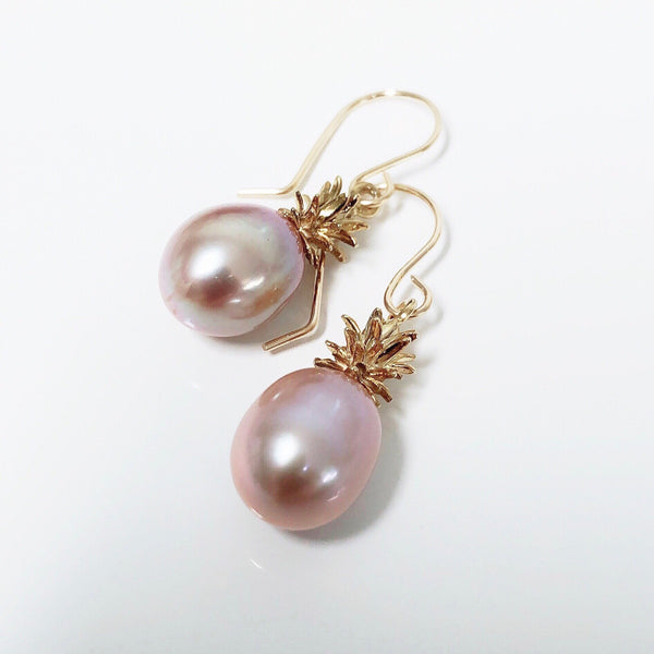 Pineapple pearl earrings - pink Edison pearls (E562)