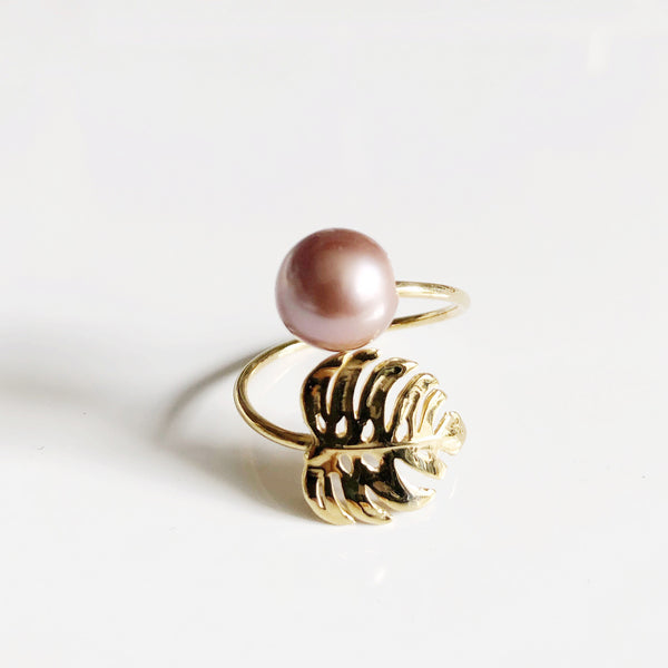 Monstera ring - Edison pearl (R198)