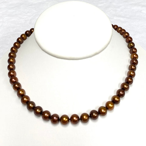 Chocolate pearls strand necklace  (N362)