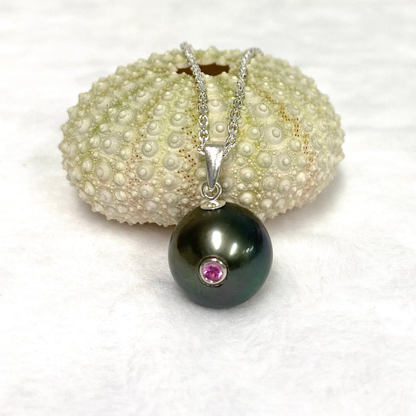 Pink tourmaline Tahitian pearl necklace