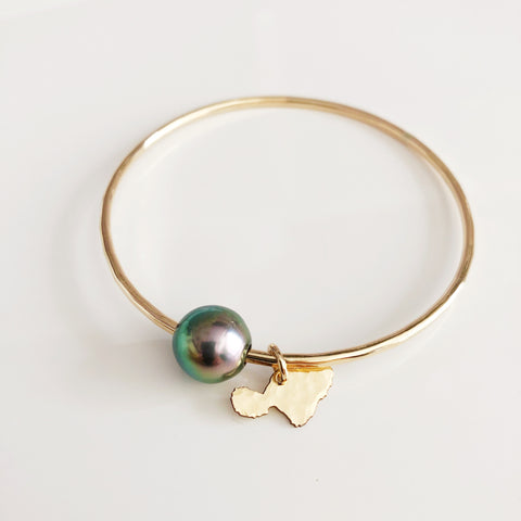 Maui charm bangle - tahitian pearl (B370)