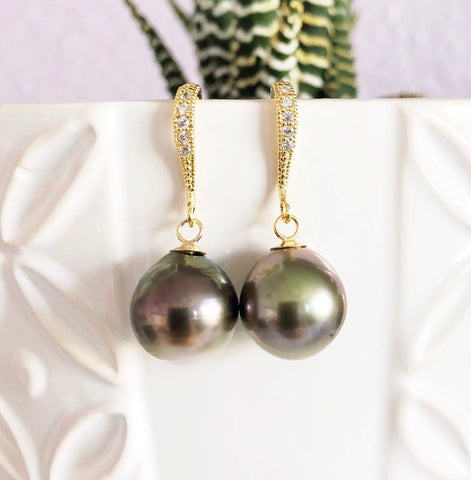 Earrings Irene - Tahitian pearls dangle (E224)