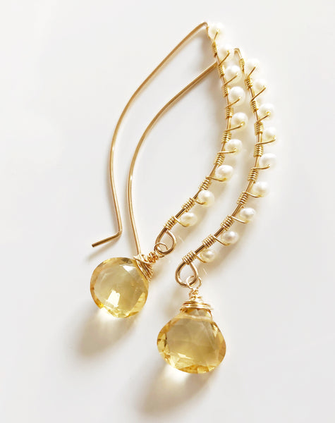 Earrings AILANI - citrine (E467)