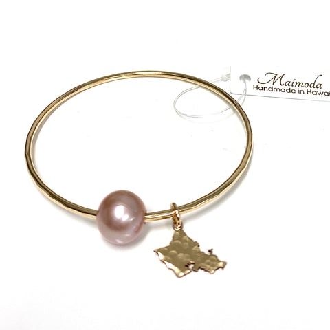 Oahu charm bangle - pink Edison pearl