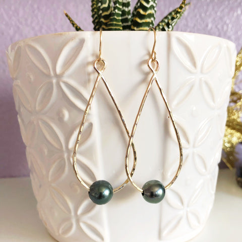 Earrings ETHEL - tahitian pearl (E524)