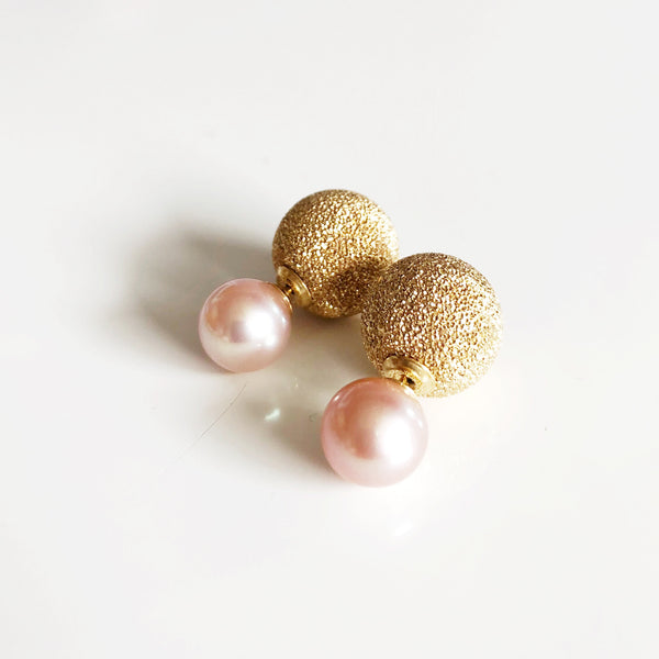 Earrings ZOLA - pink pearls (E482)