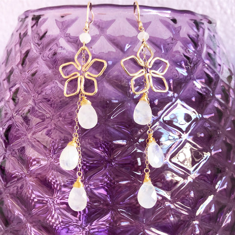 Earrings Suri - Tiare & moonstone (E512)