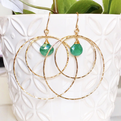 Earrings Rachel - green onyx (E408)