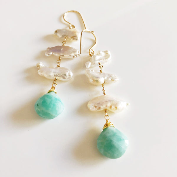 Earrings CAMILLE - amazonite (E522)