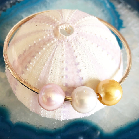Bangle Paige - pink, white, gold fresh water pearls (B390)