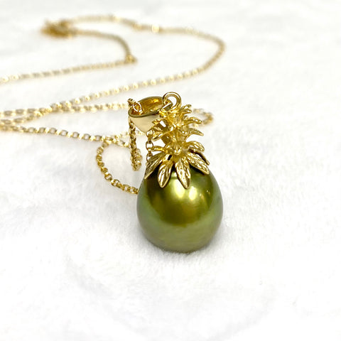 Pineapple pearl necklace - pistachio Tahitian pearl (N380)
