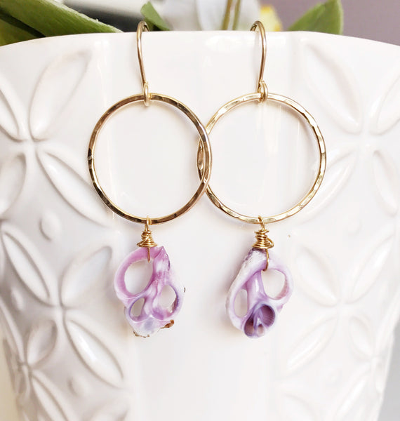 Earrings Lulu - purple cebu shell (E384)