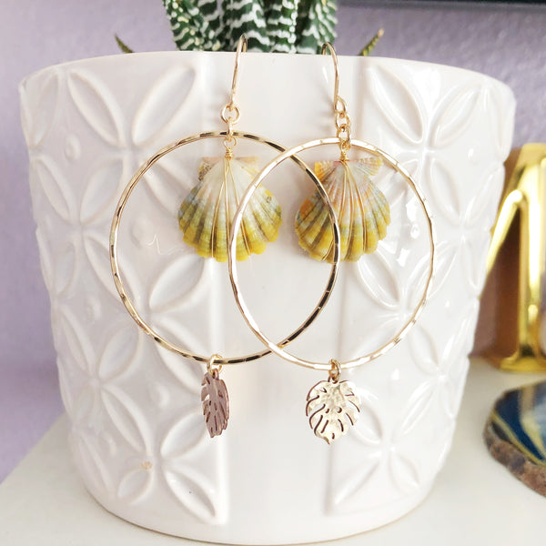 Earrings MELLIE - monstera charm (E504)