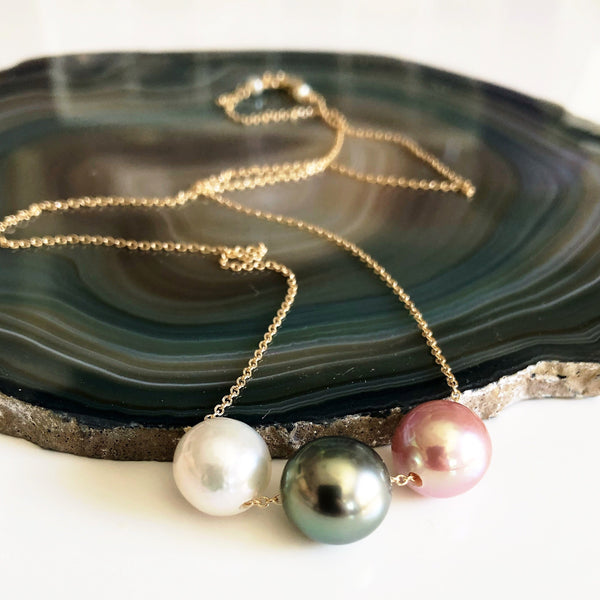 Necklace KRISTI - Tahitian & Edison pearls (N223)