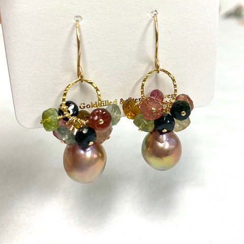 Earrings KIRA - tourmaline & Edison pearls (E600)