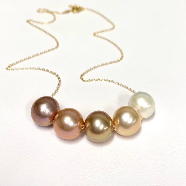 5 Edison pearls necklace (N356)