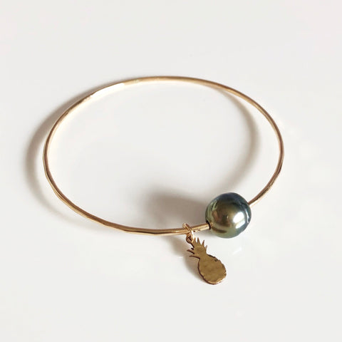 Pineapple charm bangle - tahitian pearl (B382)