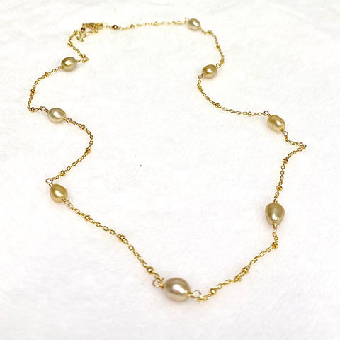 Gold south sea keshi pearl necklace