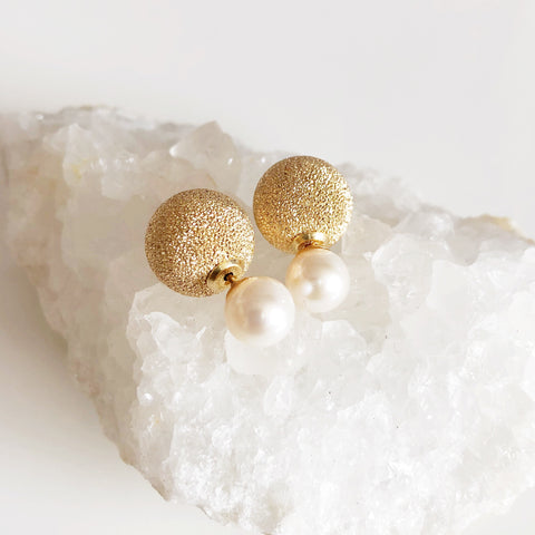 Earrings ZOLA - white pearls (E478)