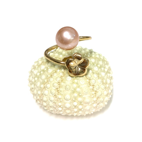 Plumeria bypass ring - pink Edison pearl (R213)