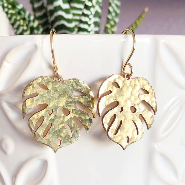 Monstera dangle earrings - large size (E492)
