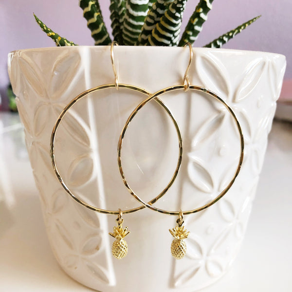 Pineapple hoop earrings (E456)