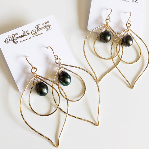 Earrings Chloe - Tahitian pearl (E327)