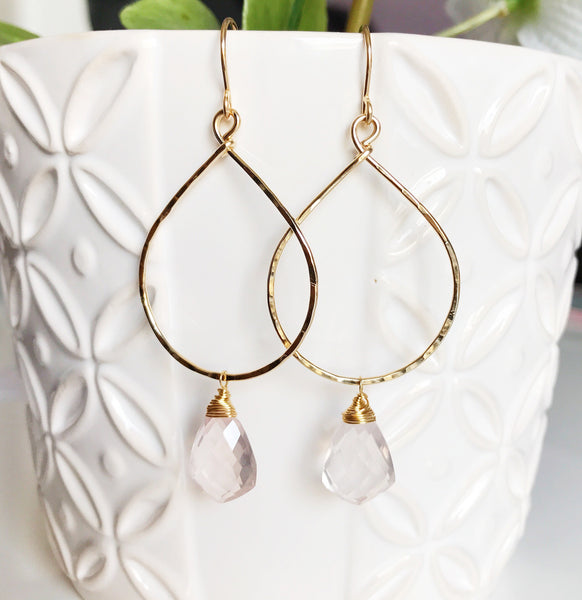 Earrings Nerida - rose quartz (E373)