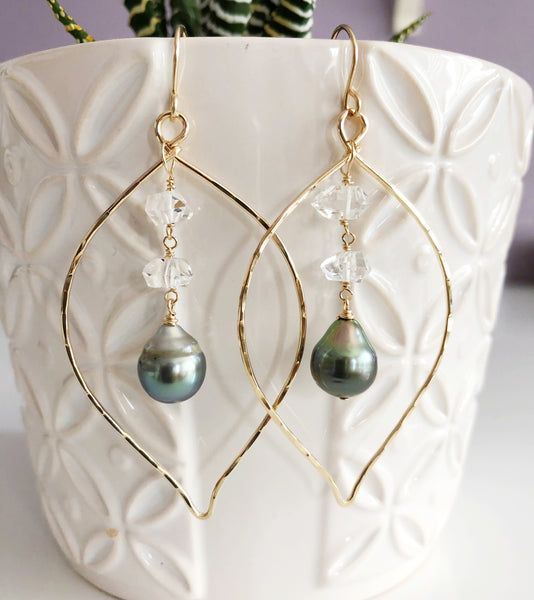 Earrings YURI - tahitian pearl & herkimer diamond