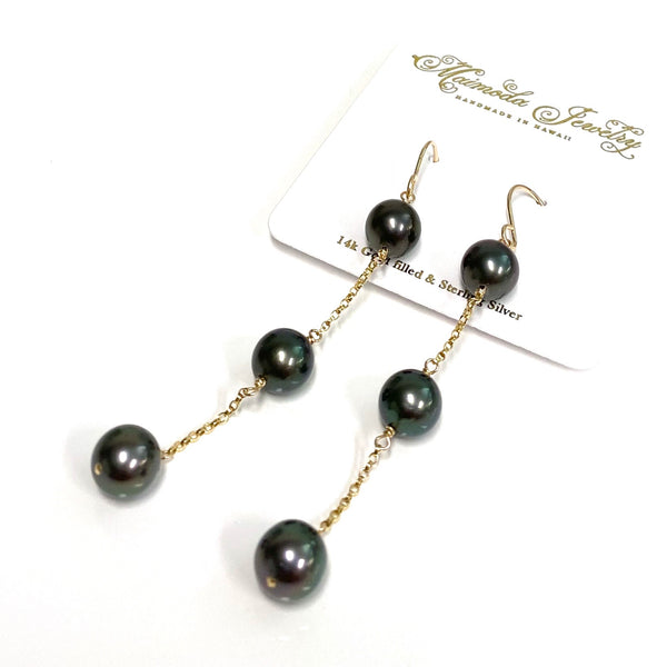 Earrings PUALANI - Tahitian pearls (E592)