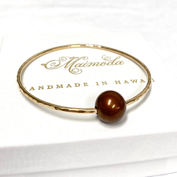 Bangle MIKA - chocolate Tahitian pearl (B103)