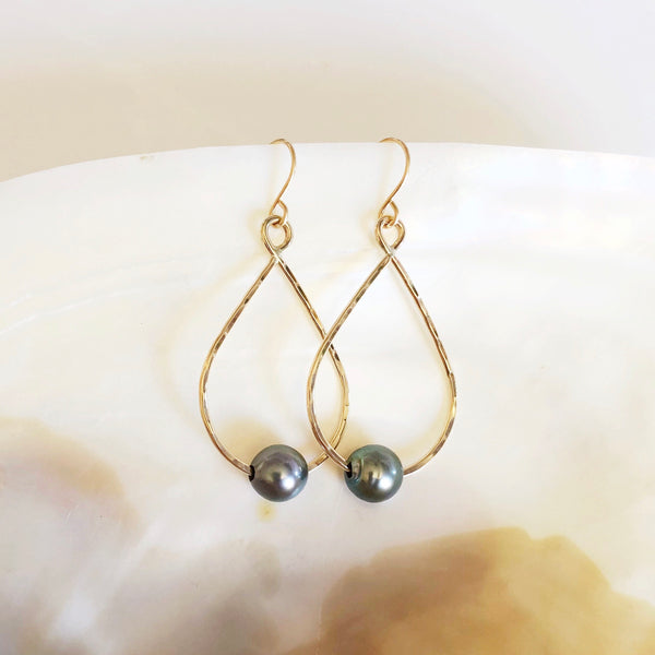 Earrings STELLA - tahitian pearl (E473)