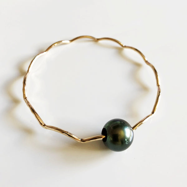 Bangle TOMI - tahitian pearl (B394)