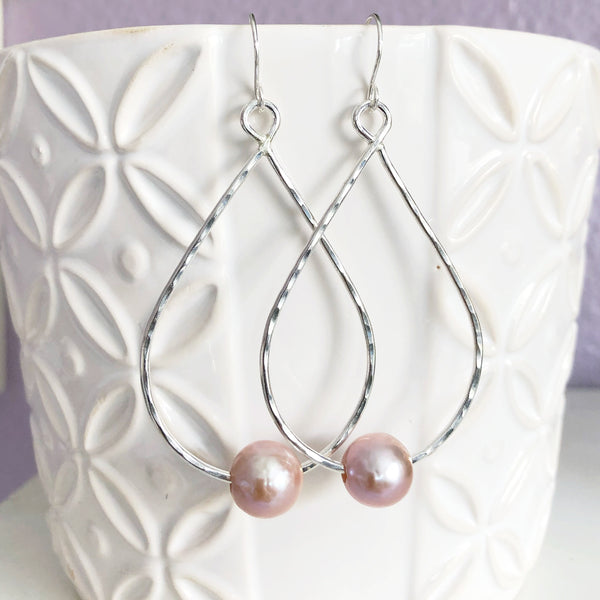 Earrings Molly - pink pearls (E352)