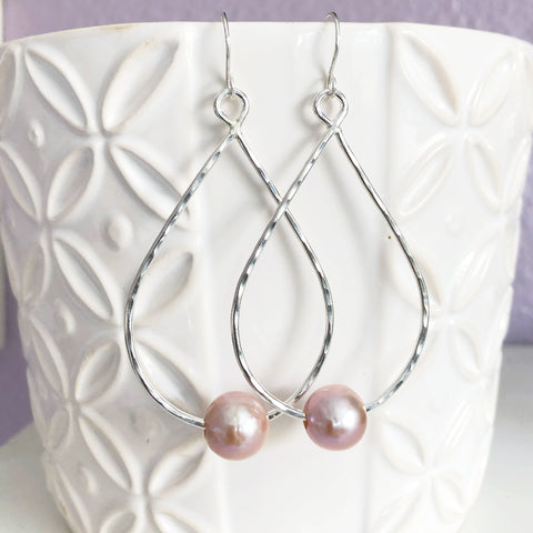 Earrings Molly - pink Edison pearls (E352)
