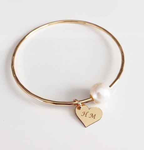 Bangle VICCI - white fresh water pearl (B431)