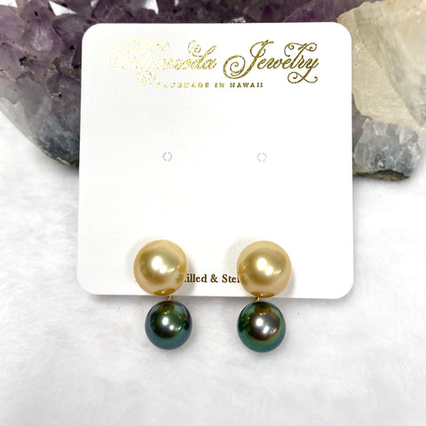 Double Momi studs earrings - gold south sea & Tahitian pearls
