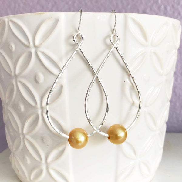 Earrings MOLLY -  gold south sea pearls (E558)