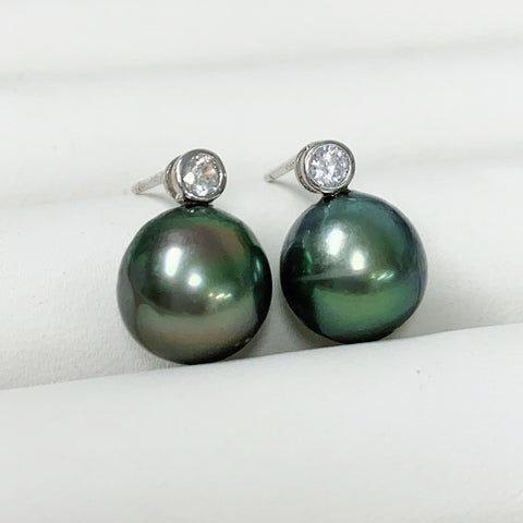 CZ Tahitian pearls stud earrings (E571)