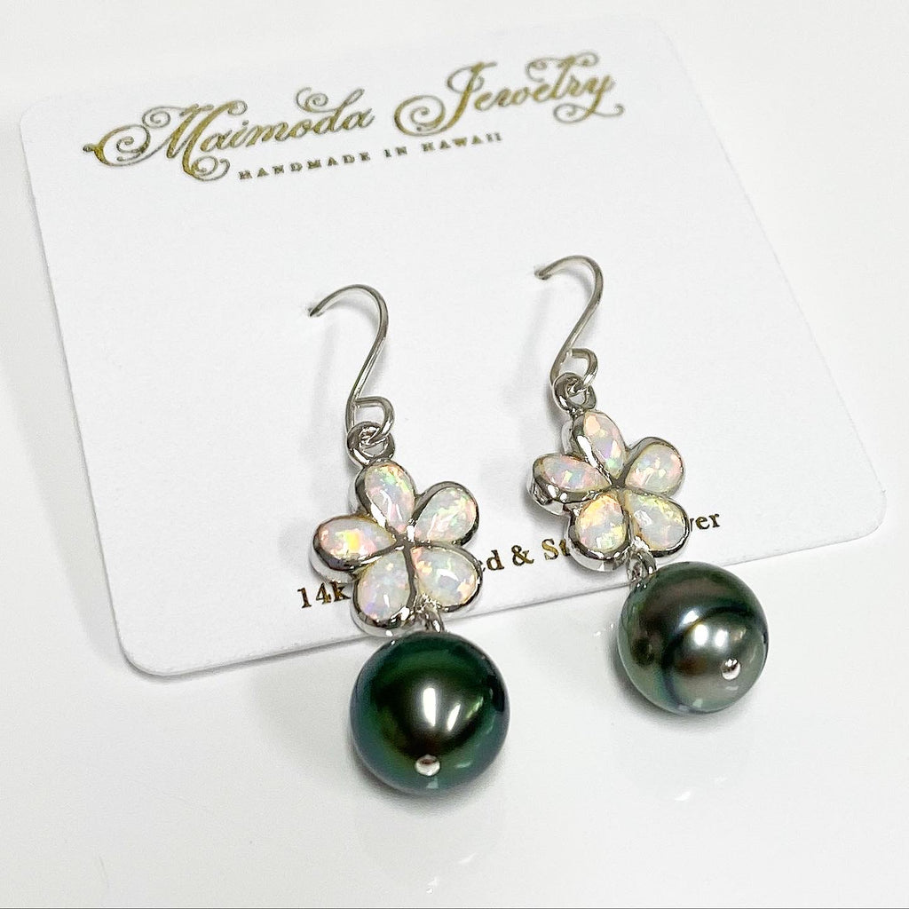 Opal plumeria and Tahitian pearls earrings (E573)