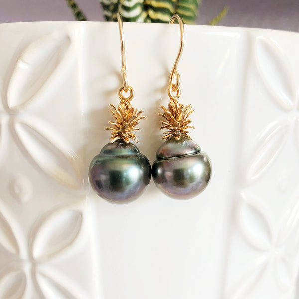 Pineapple tahitian pearl earrings (E519)
