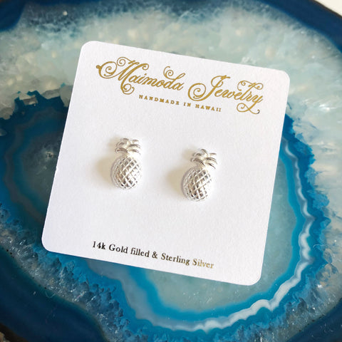Pineapple stud earrings- sterling silver (E485)