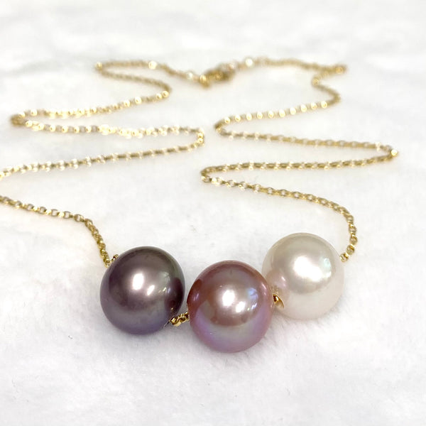 Necklace Kristi - purple, pink & white Edison pearls (N375)