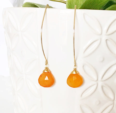 Earrings Kalena - carnelian (E316)