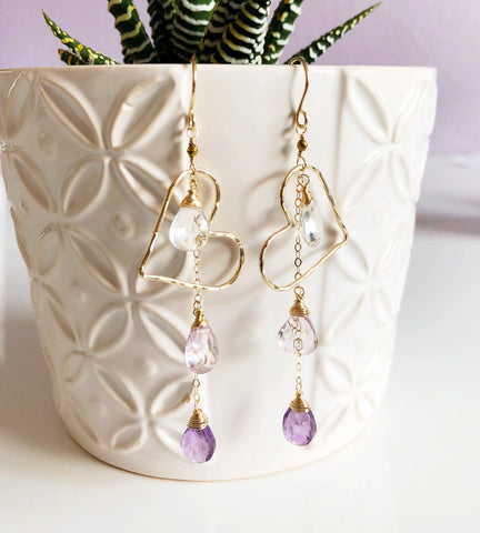 Earrings Aiko - purple ombré (E187)