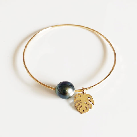 Monstera bangle - tahitian pearl (B380)