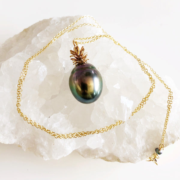 Pineapple tahitian pearl necklace (N302)
