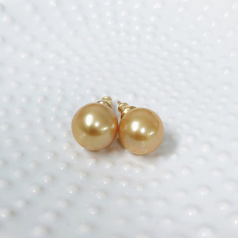 Earrings Momi - golden south sea pearls (E526)