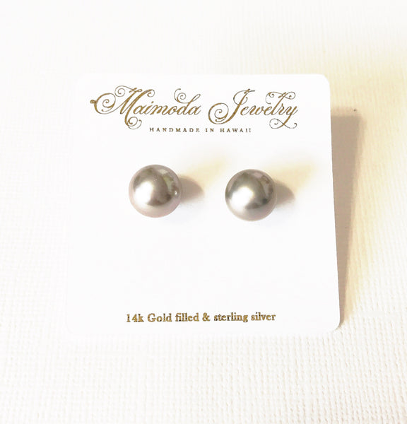 Earrings Momi - silver Tahitian pearls (E332)