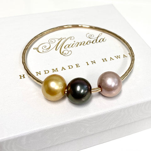 Bangle PAIGE - 11-12mm gold south sea , pink Edison and Tahitian pearl (B460)